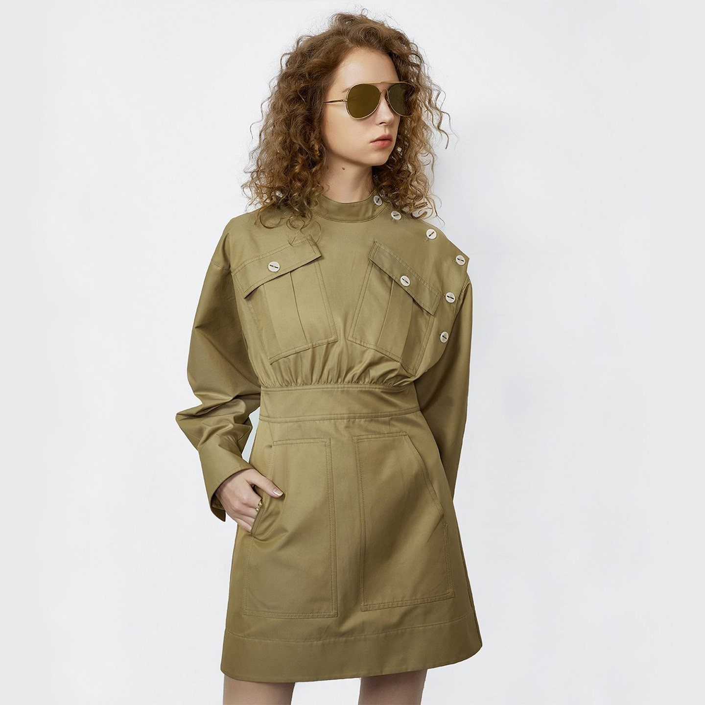 'Reena' Puff Sleeve Utility Mini Dress