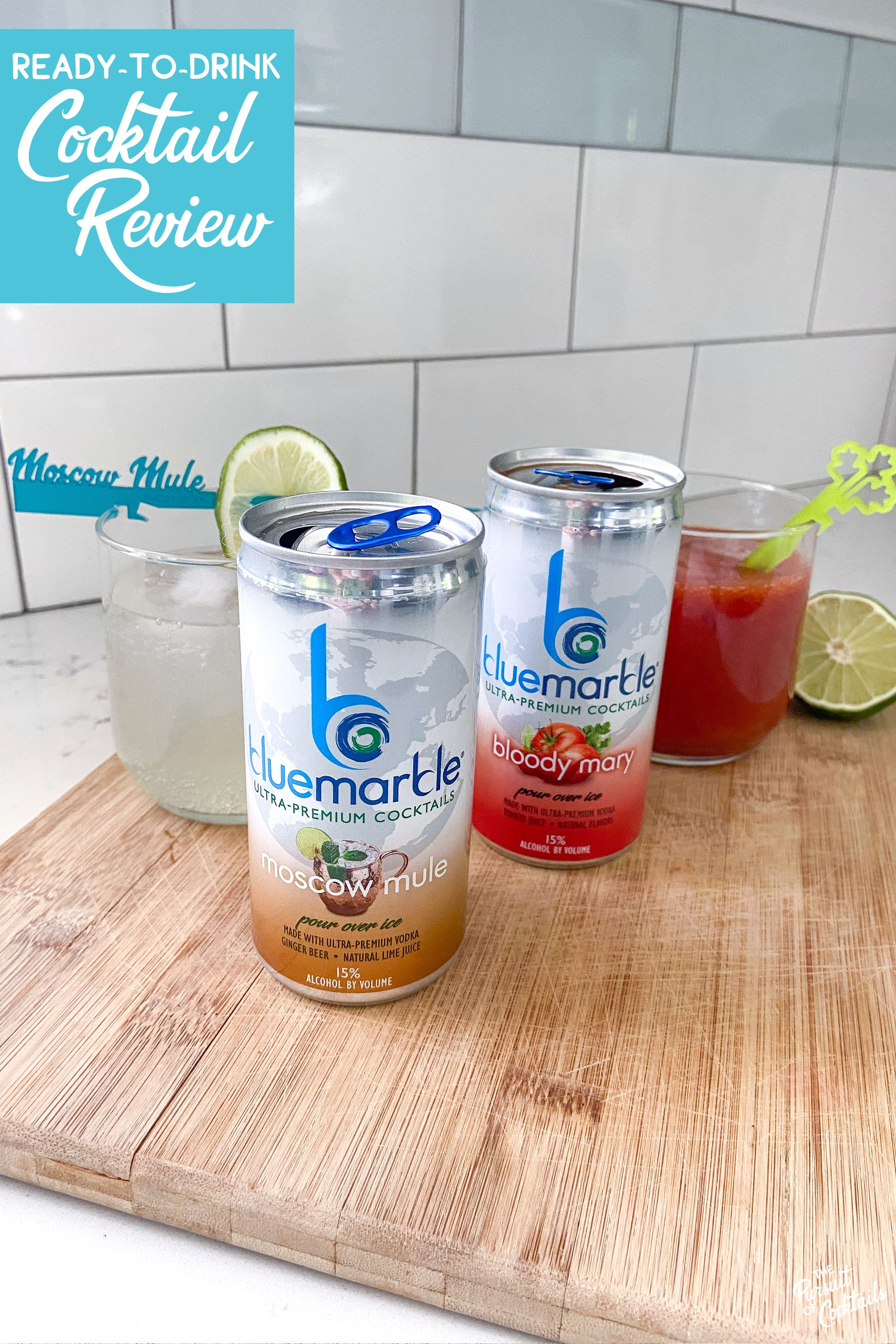 Blue Marble canned cocktail review of their Moscow Mule and Bloody Mary