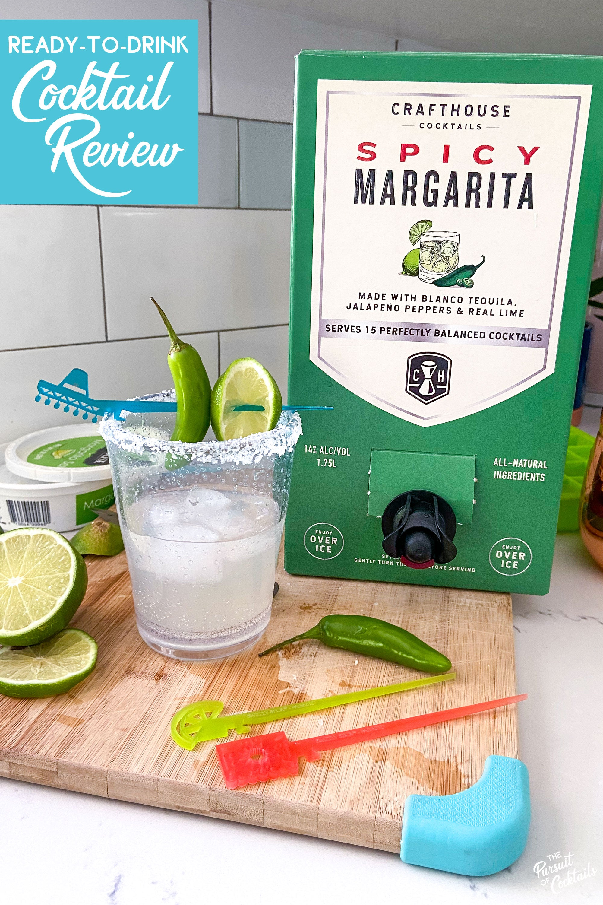 Ready-to-drink margarita review of Crafthouse Cocktails spicy margarita party box