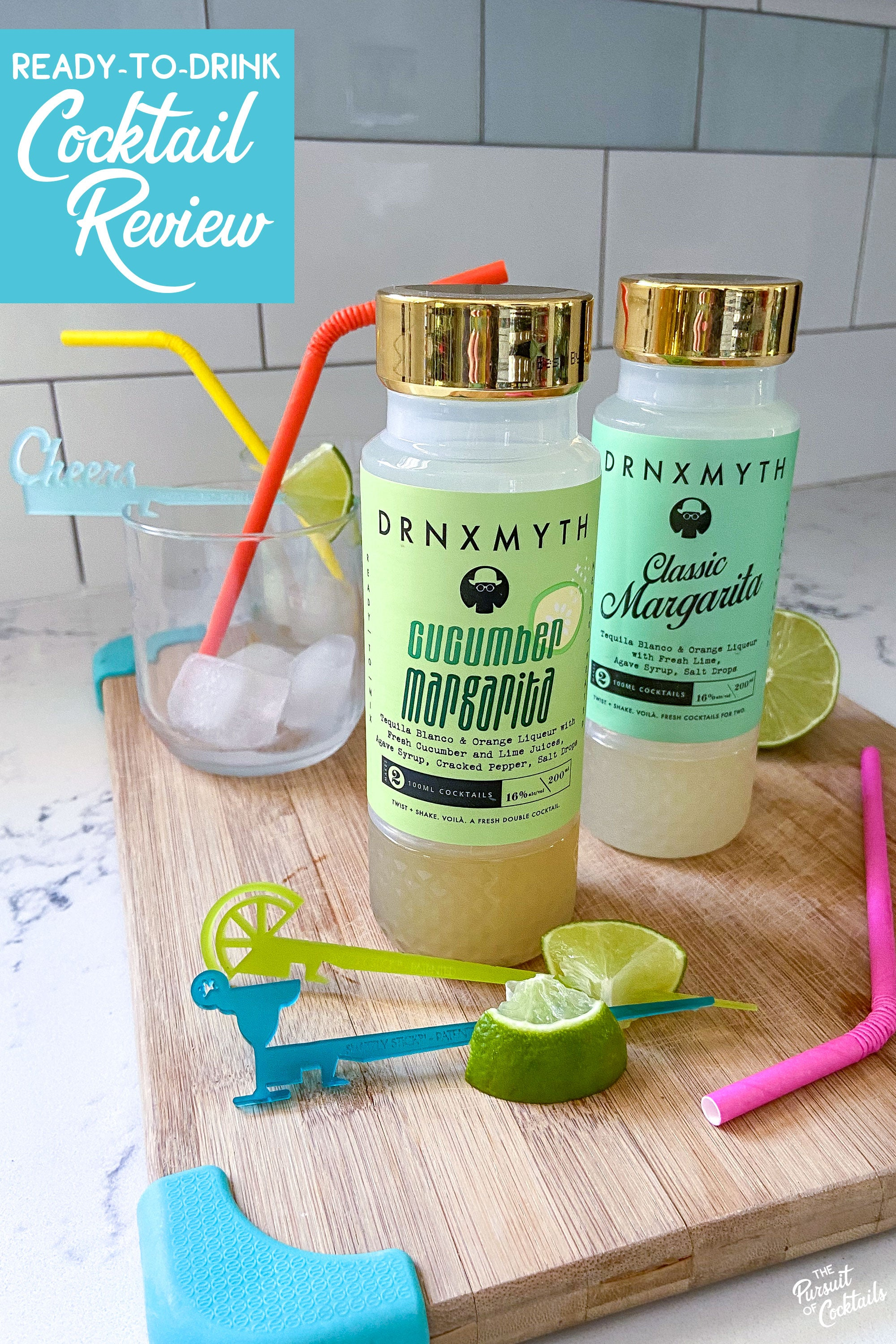 Drnxmyth Classic Margarita and Cucumber Margarita ready-to-drink cocktails reviewed by The Pursuit of Cocktails