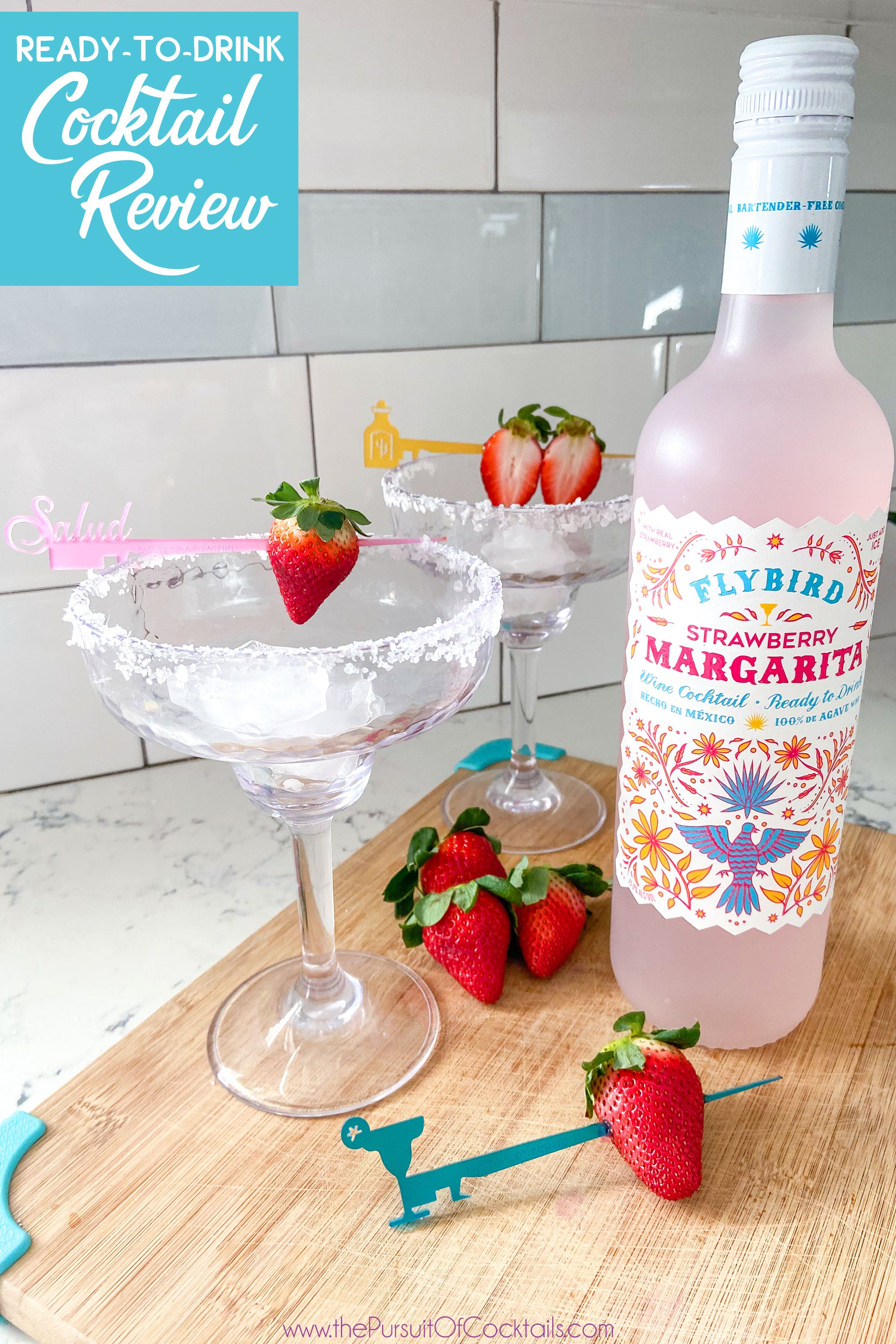 Ready to drink margarita review of Flybird Strawberry Margarita by The Pursuit of Cocktails
