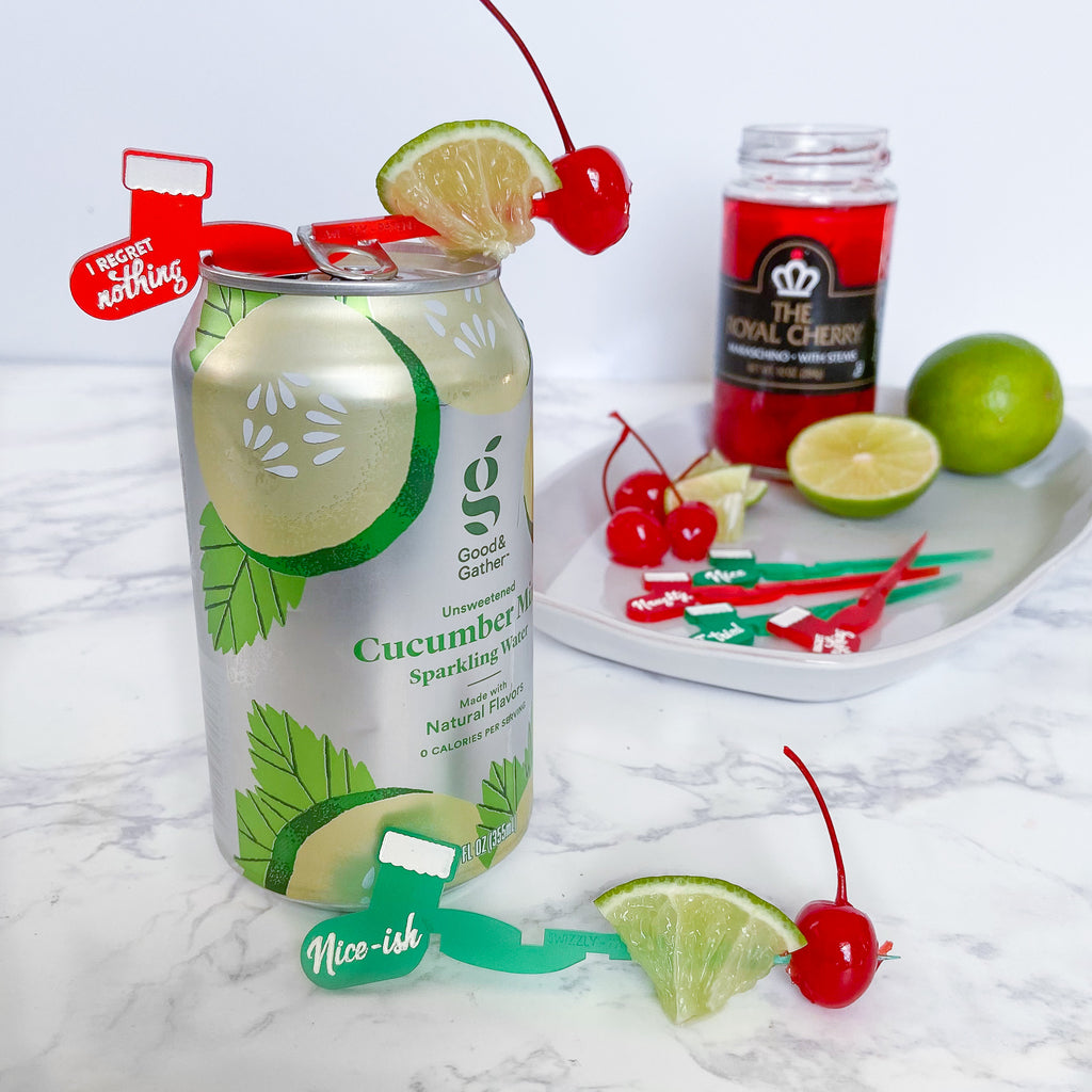 Holiday drink markers for cans - Christmas stocking Swizzlys with lime and cherry garnish