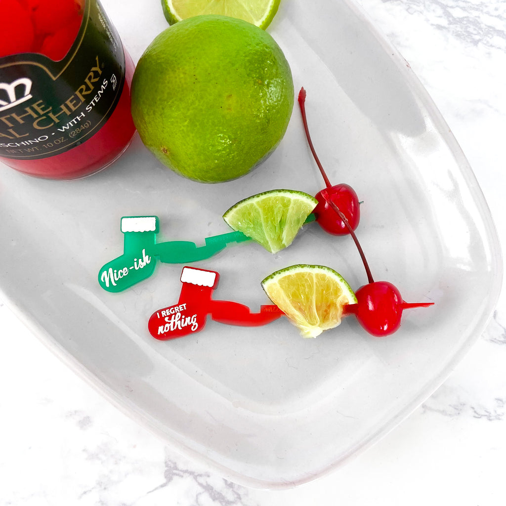 Christmas Stocking Swizzlys with lime and cherry garnish