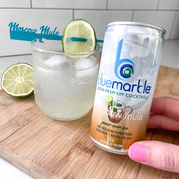 Canned cocktail Moscow Mule review of Blue Marble