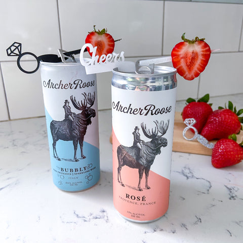 Archer Roose canned wines with Swizzly Sticks from The Pursuit of Cocktails