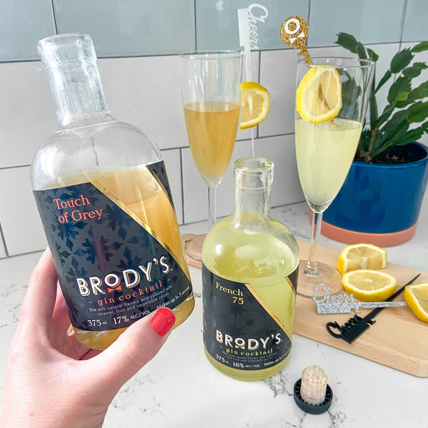 Brody's ready-to-drink gin cocktails styled with Swizzly Sticks from The Pursuit of Cocktails