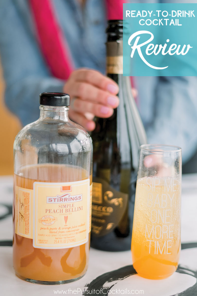 Stirrings Peach Bellini cocktail mix reviewed by The Pursuit of Cocktails