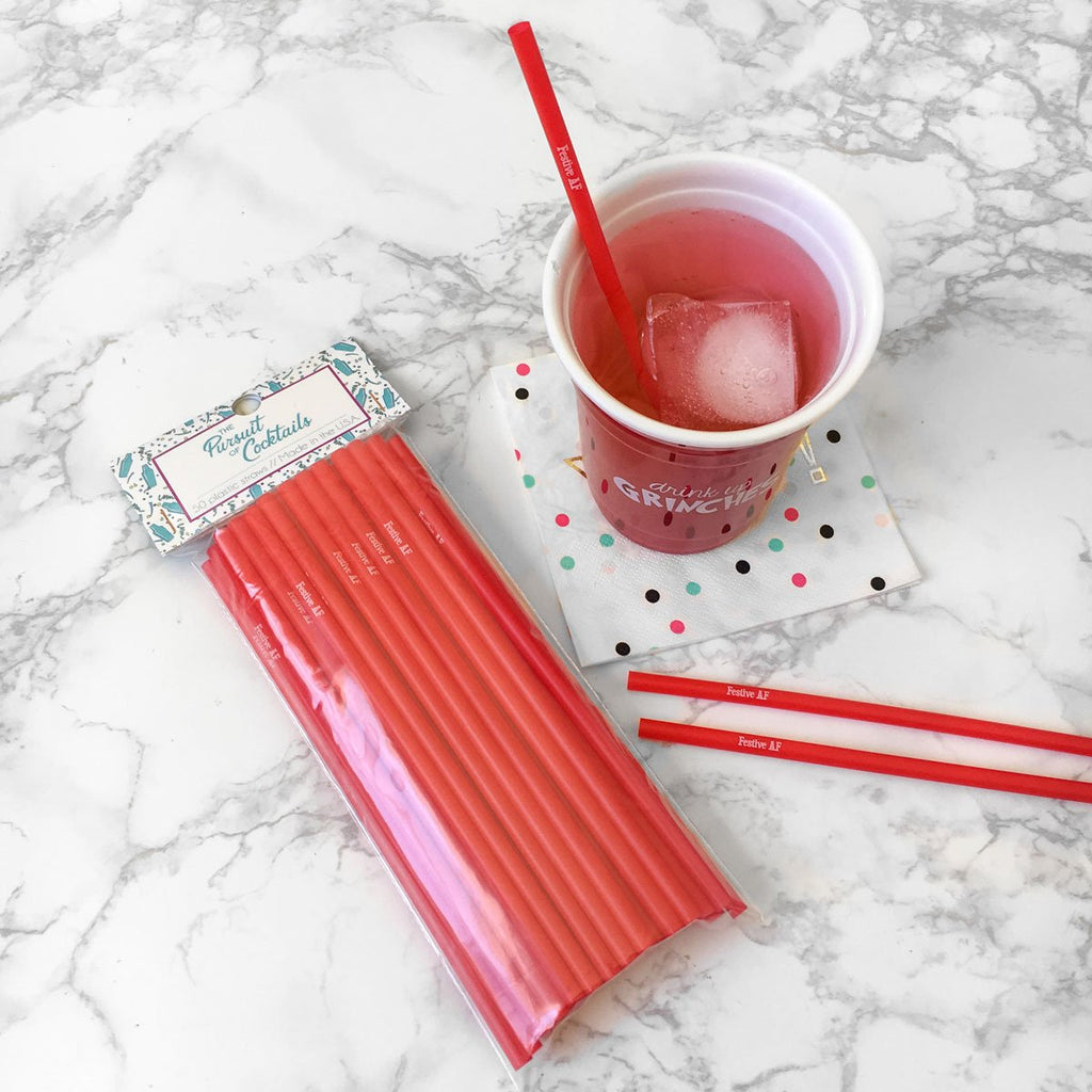 Festive AF red cocktail straws