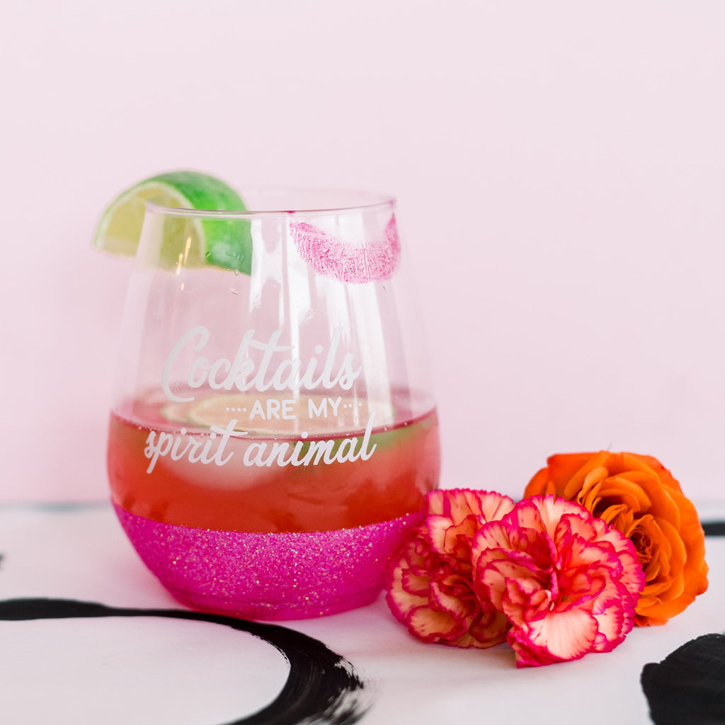 Cocktails are my spirit animal, pink glitter dipped cocktails glass.