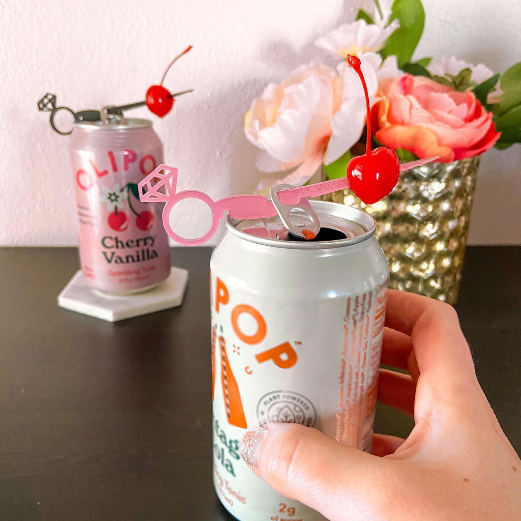 Pink diamond ring drink marker for cans party favor for bachelorette parties. Swizzly Sticks for cans.