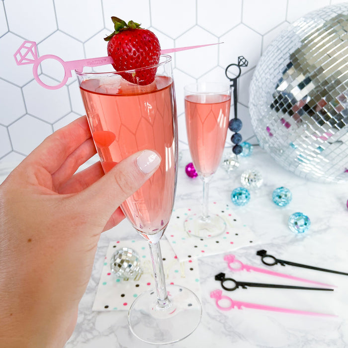 Bachelorette party favor drink marker and cocktail stick in black and pink, diamond ring Swizzly