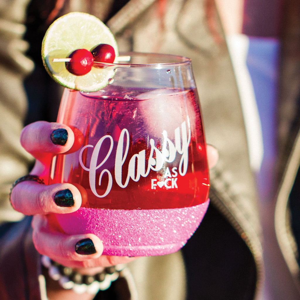 Classy as fuck hot pink bottomed stemless plastic cocktail glass
