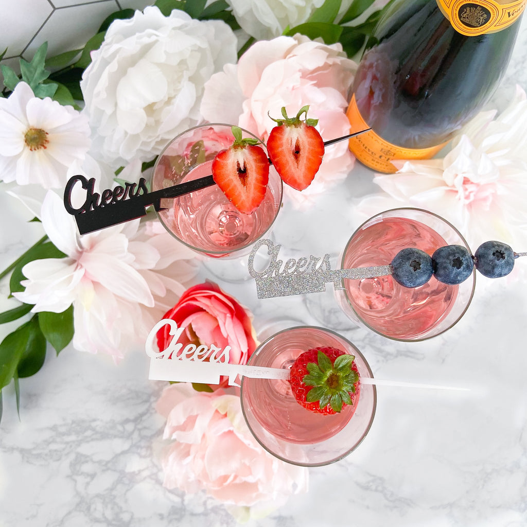 """Cheers"" set of unique drink stirrers for weddings, bridal showers and parties"