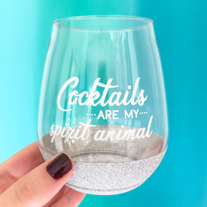 Cocktails are my spirit animal silver glitter dipped cocktail glass