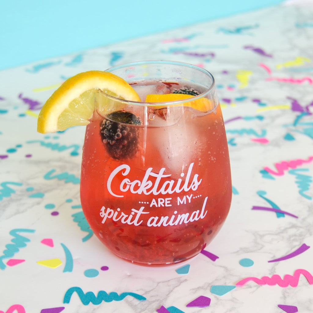 Cocktails are my spirit animal - recyclable plastic cocktail glass