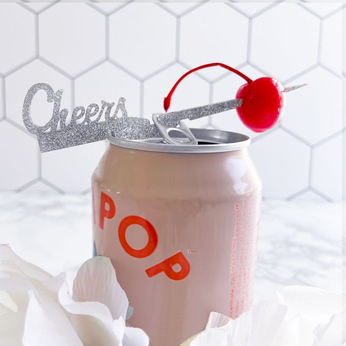 """Cheers"" drink marker and cocktail pick made to fit on cans 