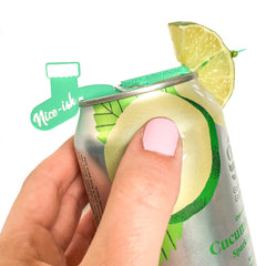 Christmas stocking drink marker for cans  that attaches to the rim of most cans and allows you to add garnish to canned drinks- the Swizzly