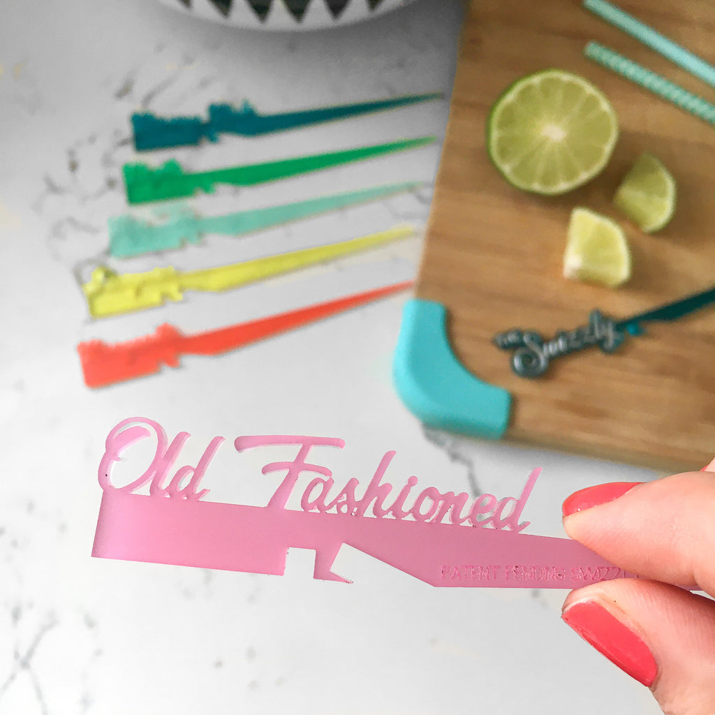 Old Fashioned whiskey cocktail drink marker cocktail stick