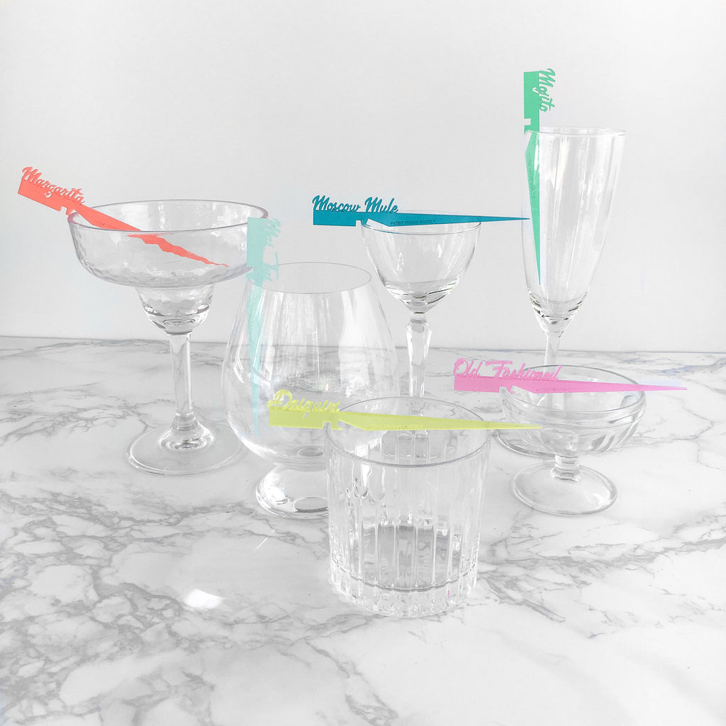 Classic cocktail Swizzly set - a modern take on swizzle sticks that identify classic cocktails