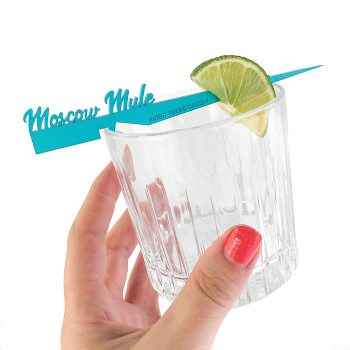 Moscow Mule Swizzly drink marker + cocktail stick with unique notched design to secure garnish to the rim of any glass
