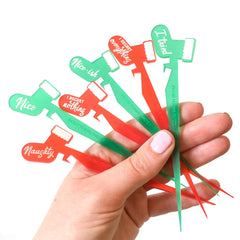 Set of 6 Christmas stocking holiday cocktail pick drink markers