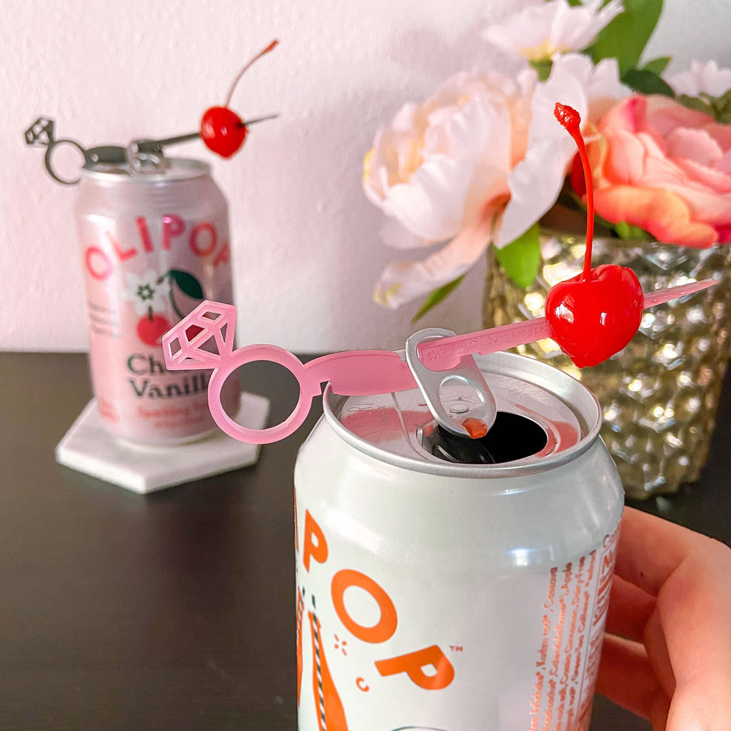 Bachelorette party favor pink and black diamond ring drink markers for cans Swizzly Sticks.