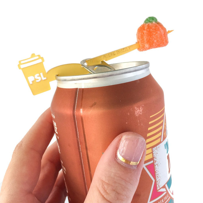 Pumpkin Spice Latte Swizzly™ drink marker for cans