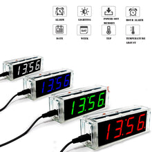 Load image into Gallery viewer, Mini LED Clock with temp display and Acrylic Case - DIY Project Kit