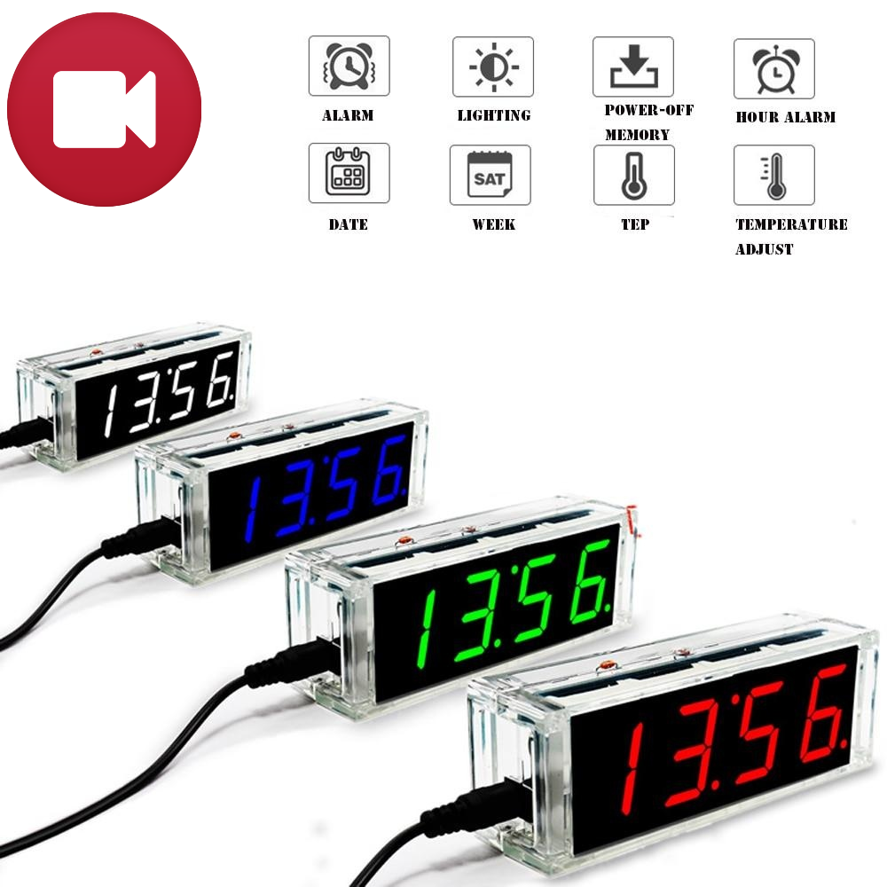 Mini LED Clock with temp display and Acrylic Case - DIY Project Kit