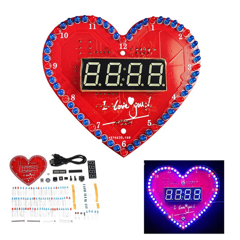 Heart-shaped Alarm Clock DIY Electronic Kit