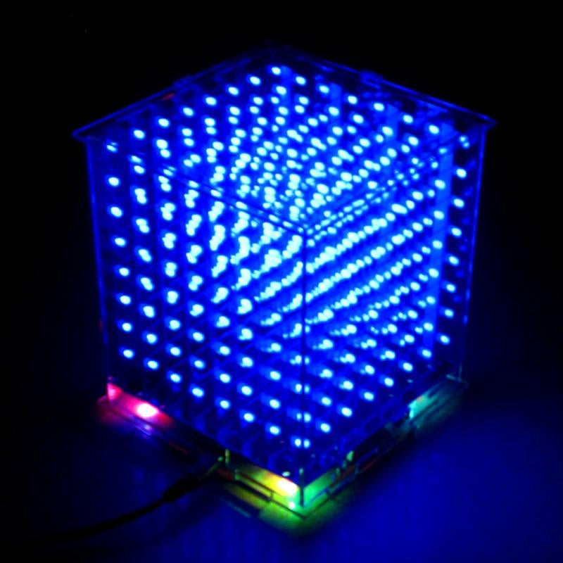 8x8x8 Mini LED Cube DIY Kit - Circuit-Pop