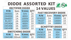 Assorted Schottky Diodes set 200pcs - Circuit-Pop