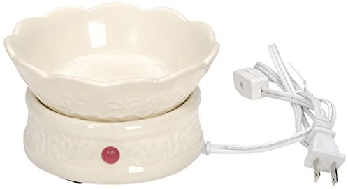 Electric Wax Melter - Ceramic - Embossed Design - Ivory