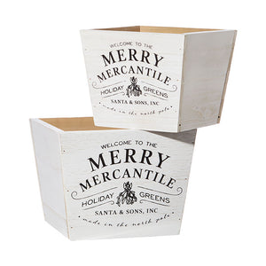 "9.25"" MERRY MERCANTILE CHRISTMAS DECORATIVE BOX"