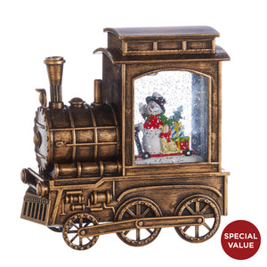 "6.75"" SNOWMAN IN MUSICAL LIGHTED WATER TRAIN"