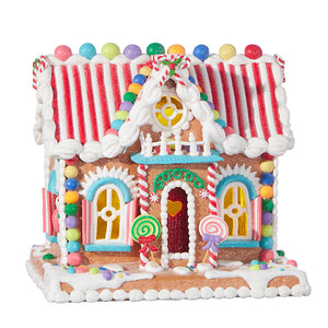 "11"" CANDY LIGHTED GINGERBREAD HOUSE"