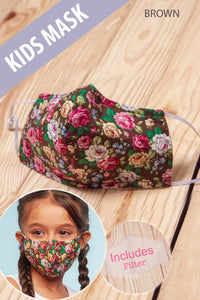 Brown Floral  Cotton Mask Kids