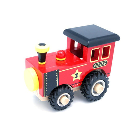 Wooden Red Train with Rubber Wheels