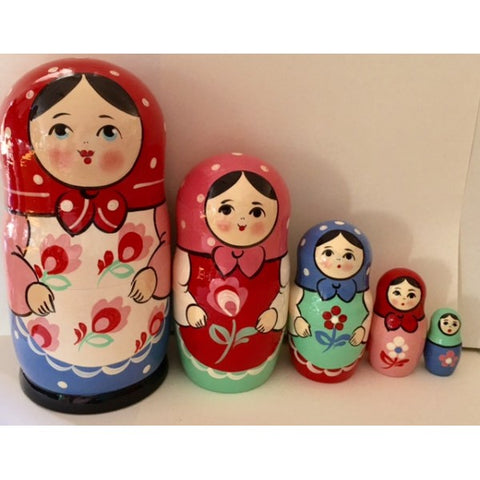 Babushka Tulip Girl 5 Pcs Large