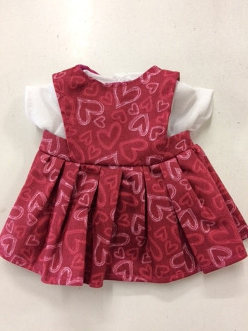Dolls Clothes - 21cm Pinafore & Tee Various