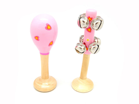 Maraca and Bell Stick Pink Heart