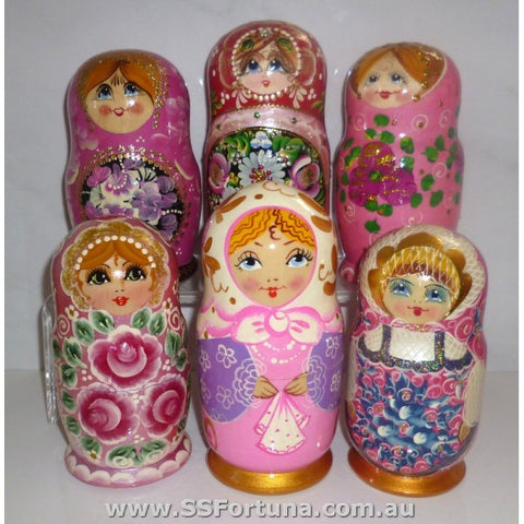 Babushka Pink Floral 5 Pcs Medium