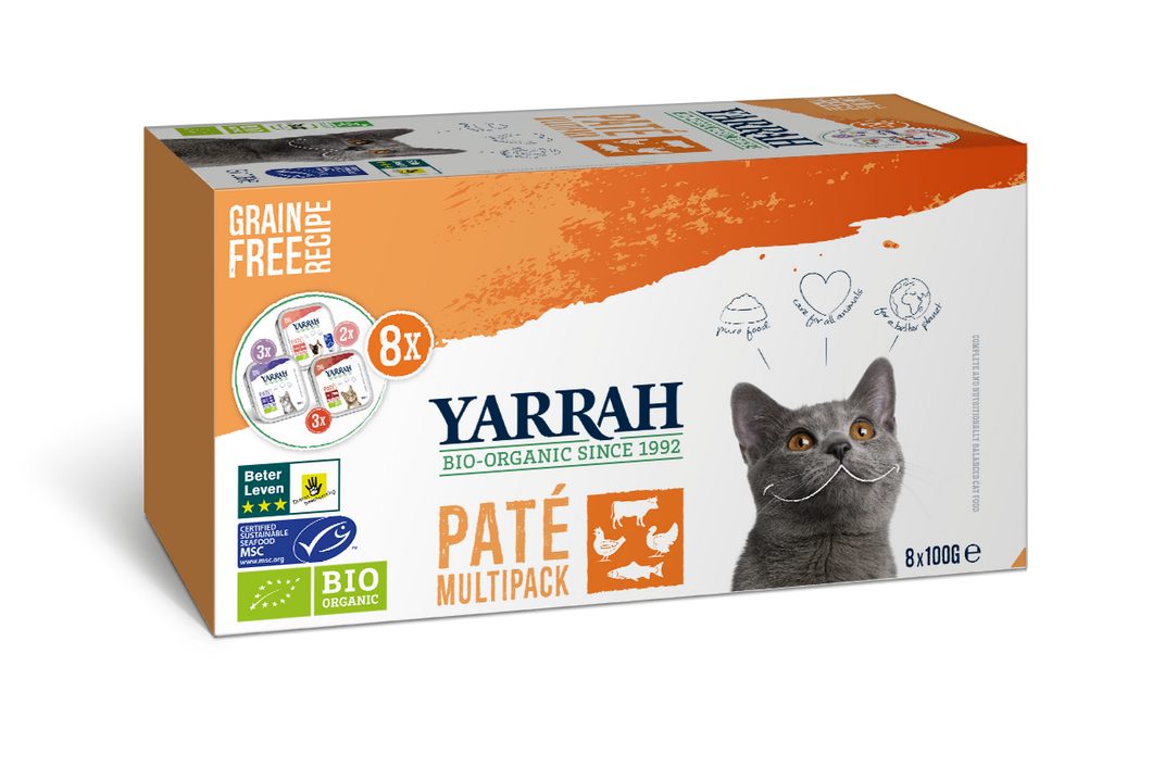 Yarrah - Multi Pack 8 portions biologique pour chat - 800g x 6 - Oscar and Kitty