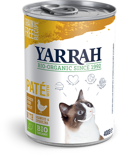 Yarrah - pâté biologique au poulet pour chat - 400g x 12 - Oscar and Kitty