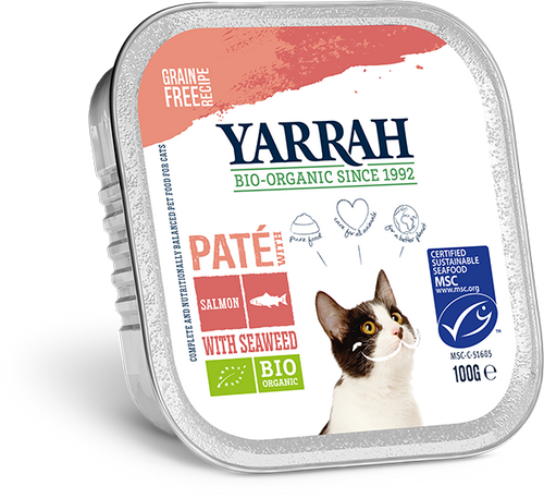 Yarrah - pâté biologique au saumon pour chat - 100g x 32 - Oscar and Kitty