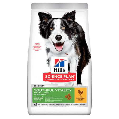 Hill's Science Plan Canine Mature Adult 7+ Youthful Vitality Medium au Poulet et au Riz (12 kg) - Oscar and Kitty