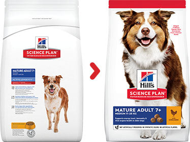Hill's Science Plan Canine Mature Adult 7+ Medium au Poulet (12 kg) - Oscar and Kitty