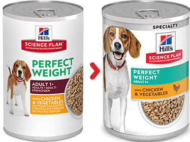 Hill's Science Plan Canine Adult Perfect Weight au Poulet & aux Légumes (12 x 363 gr) - Oscar and Kitty