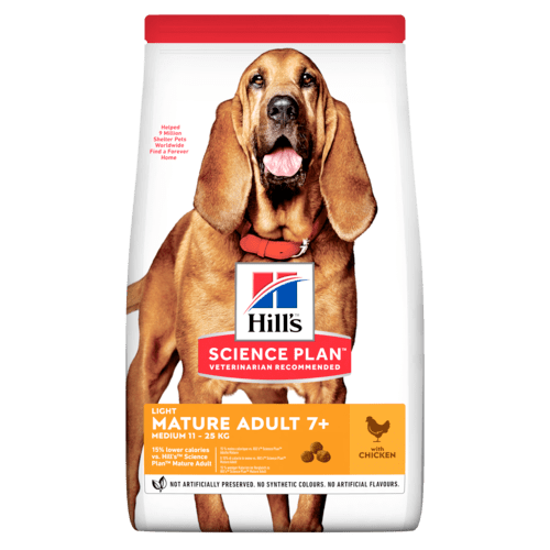 Hill's Science Plan Aliment pour Chien Adulte Mature 7+ Light au Poulet (2 x 2,5 kg) - Oscar and Kitty