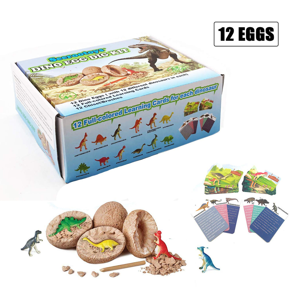 Dig it Up Dinosaur Egg Novelty Chiseling 12 Dino Eggs and Discover Fossils Model Children Educational Toy